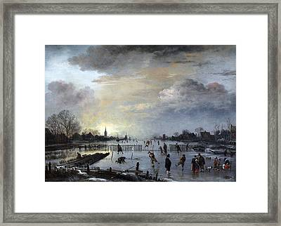Framed Print featuring the painting Winter Landscape With Skaters by Gianfranco Weiss