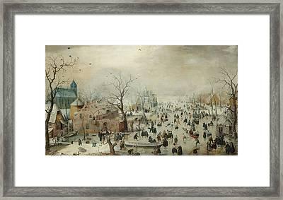 Winter Landscape With Skaters Framed Print