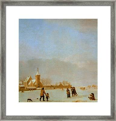 Winter Landscape With Skaters Oil On Panel Framed Print
