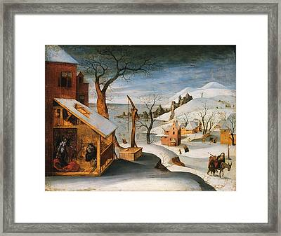 Winter Landscape With The Angel Appearing To Saint Joseph The Massacre Of The Innocents And The Flig Framed Print