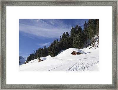 Winter Landscape With Trees And Houses In Austria Framed Print