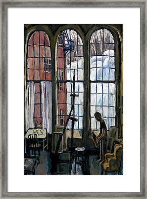 Winter Light Studio Original Oil Painting Interior Framed Print by Thor Wickstrom