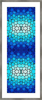 Winter Lights - Blue Mosaic Art By Sharon Cummings Framed Print by Sharon Cummings