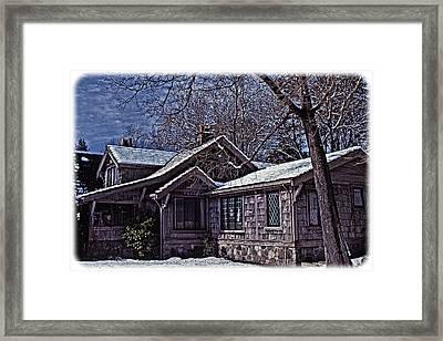 Framed Print featuring the digital art Winter Lodge by Richard Farrington