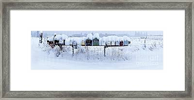 Winter Mailbox Panorama Framed Print