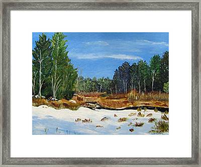 Winter Marsh In Hooksett Framed Print