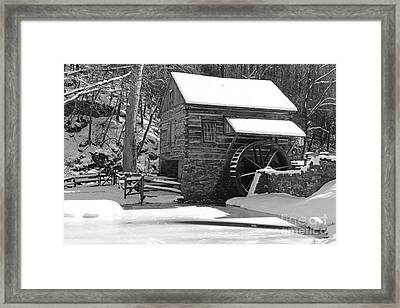 Winter Mill In Black And White Framed Print