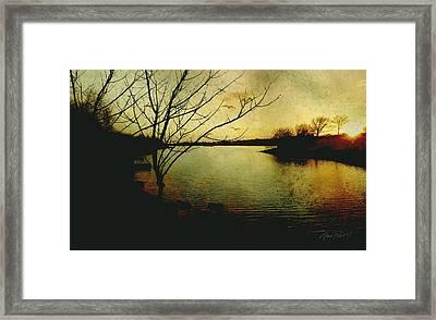 Winter Moody Sunset  Framed Print by Ann Powell