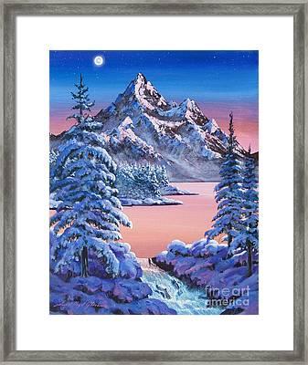 Winter Moon Framed Print by David Lloyd Glover