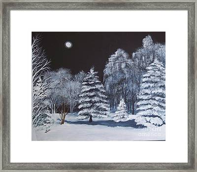 Winter Moonlight In The Country Framed Print