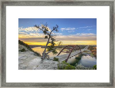 Winter Moonrise Over The 360 Bridge In Austin Texas Framed Print by Rob Greebon