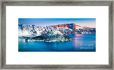 Winter Morning At Crater Lake Framed Print by Inge Johnsson