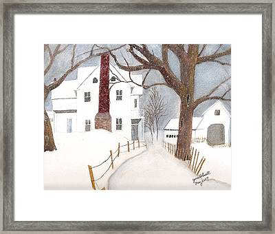 Framed Print featuring the painting Winter Morning At The Big White House by June Holwell