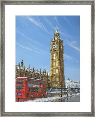 Winter Morning Big Ben Elizabeth Tower London Framed Print by Richard Harpum