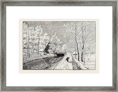Winter Morning, Engraving 1882 Framed Print by English School