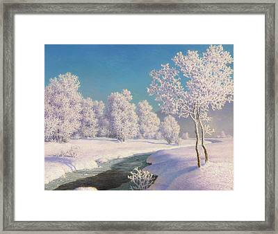 Winter Morning In Engadine Framed Print by Ivan Fedorovich Choultse