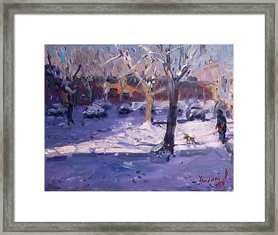 Winter Morning In My Courtyard Framed Print by Ylli Haruni