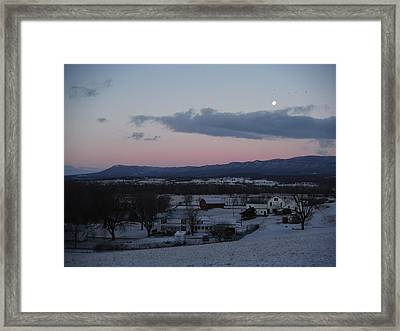 Winter Morning Moon Framed Print