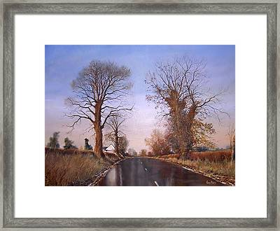 Winter Morning On Calverton Lane Framed Print by Barry BLAKE