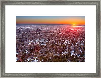 Winter Morning Sunrise Over Boulder Colorado University Framed Print by James BO  Insogna