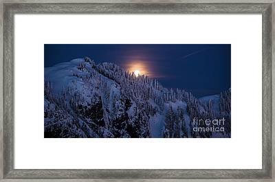 Winter Mountain Moonrise Framed Print