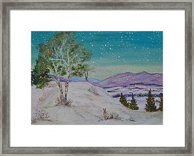 Winter Mountains With Hare Framed Print