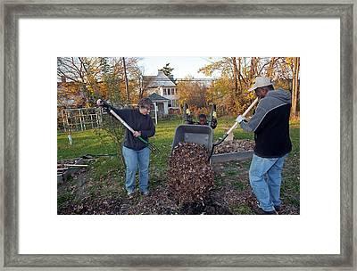 Winter Mulching In A Community Garden Framed Print