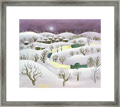 Winter Night, 1971 Oil On Canvas Framed Print by Radi Nedelchev