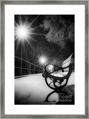 Winter Night Along The River Framed Print