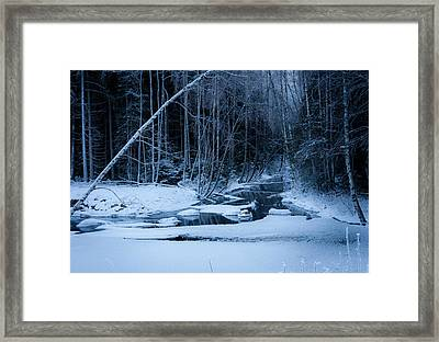 Winter Night At The River Framed Print by Teemu Tretjakov