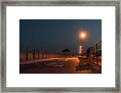 Winter Night Boardwalk Bench Seaside Nj  Framed Print