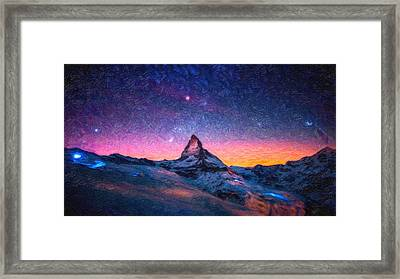 Winter Night High Peak Framed Print by MotionAge Designs