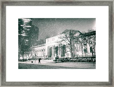 Winter Night In New York City - Snow Falls Onto 5th Avenue Framed Print by Vivienne Gucwa