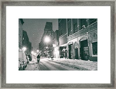 Winter Night - New York City - Lower East Side Framed Print by Vivienne Gucwa