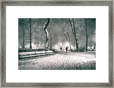 Winter Night - New York City - Madison Square Park Framed Print by Vivienne Gucwa