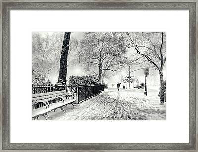 Winter Night - Snow - Madison Square Park - New York City Framed Print
