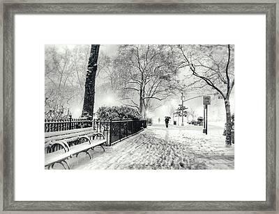 Winter Night - Snow - Madison Square Park - New York City Framed Print by Vivienne Gucwa