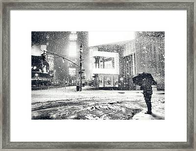 Winter Night - Times Square - New York City Framed Print by Vivienne Gucwa