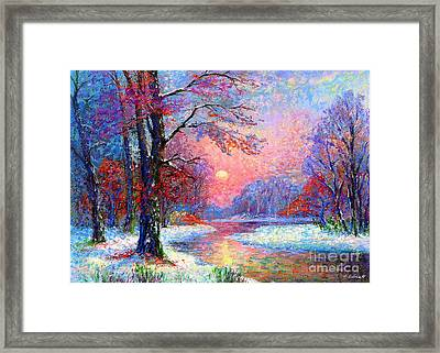 Winter Nightfall, Snow Scene  Framed Print by Jane Small