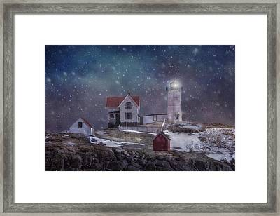 Winter Nights At Nubble Light Framed Print by Joann Vitali