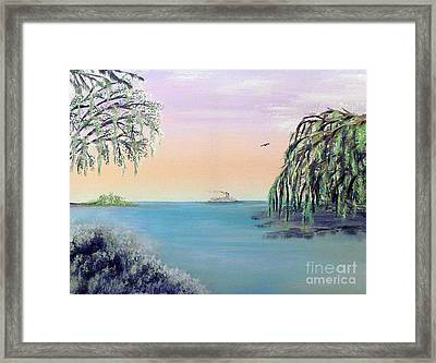 Winter On Lake Ponchartrain Framed Print by Alys Caviness-Gober