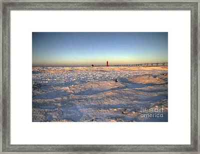Winter On The Beach In Grand Haven Framed Print by Twenty Two North Photography