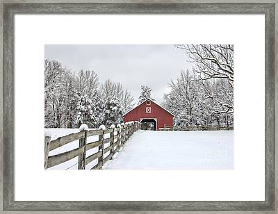 Winter On The Farm Framed Print by Benanne Stiens