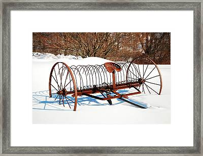 Winter On The Farm Framed Print by James Kirkikis