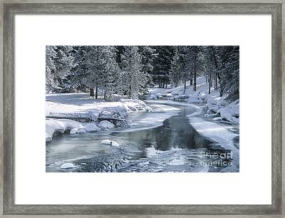 Winter On The Firehole River - Yellowstone National Park Framed Print by Sandra Bronstein