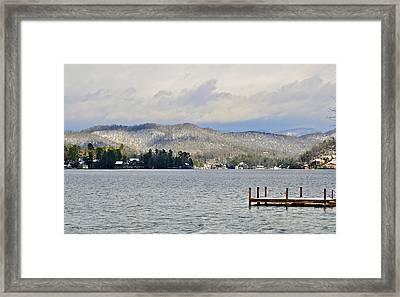 Winter On The Lake Framed Print by Susan Leggett