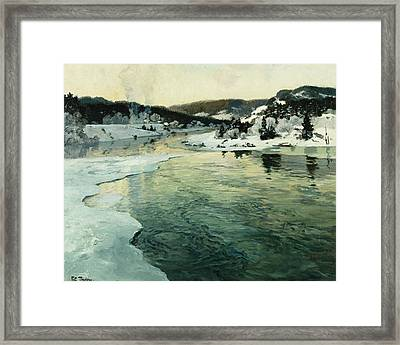 Winter On The Mesna River Near Lillehammer Framed Print by Fritz Thaulow