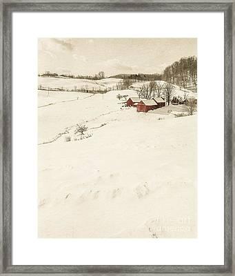 Winter On The Old Farm Framed Print by Edward Fielding