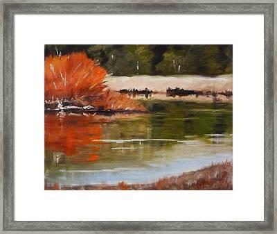 Winter On The River Framed Print by Nancy Merkle