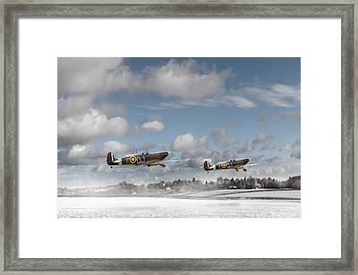 Winter Ops Spitfires Framed Print by Gary Eason